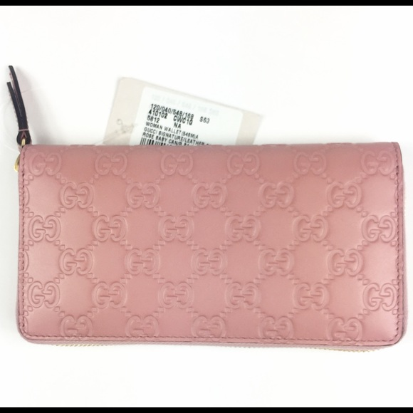 566848309645 Gucci Bags | 410102 Gg Signature Pink Leather Wallet | Poshmark